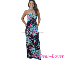 Fashion Navy Pink Floral Strapless Maxi Dress with Pockets