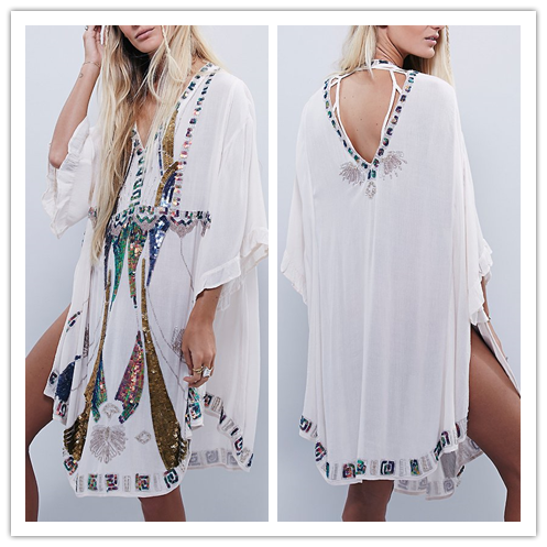 Guangzhou Clothing Sequin Beading Loose Fitted White Large Size Dress Kaftan Turkey NT6624