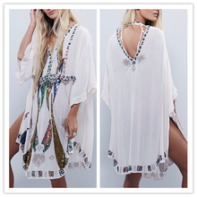 Plus Size Sequin embroidered Turkey Kaftan Beading Loose Fitted White long dress