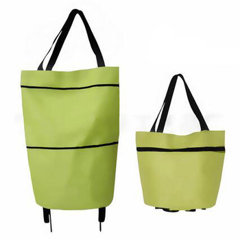 600D polyester customized portable foldable shopping tote bag and trolley with PP two wheels for promotion