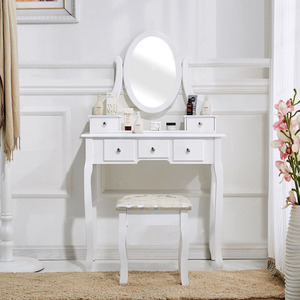 Bedroom Dresser Wooden Makeup Vanity Dressing Mirror Table For Girls