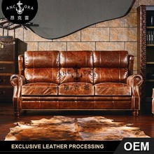 New model antique genuine leather sofa set A118