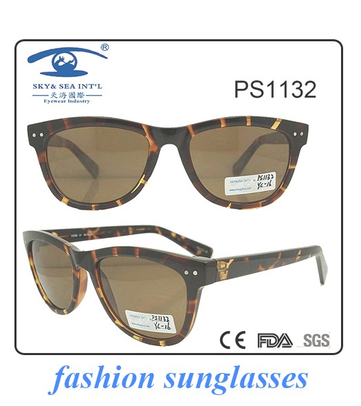 2017 new collection round shape demi brown with metal bridge pc sunglasses