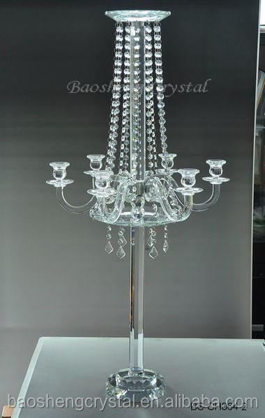 Crystal Centerpiece for Wedding Table, Tall 6 Arms Double-layers Flower Candle Stand & Candelabra (BS-CH064)