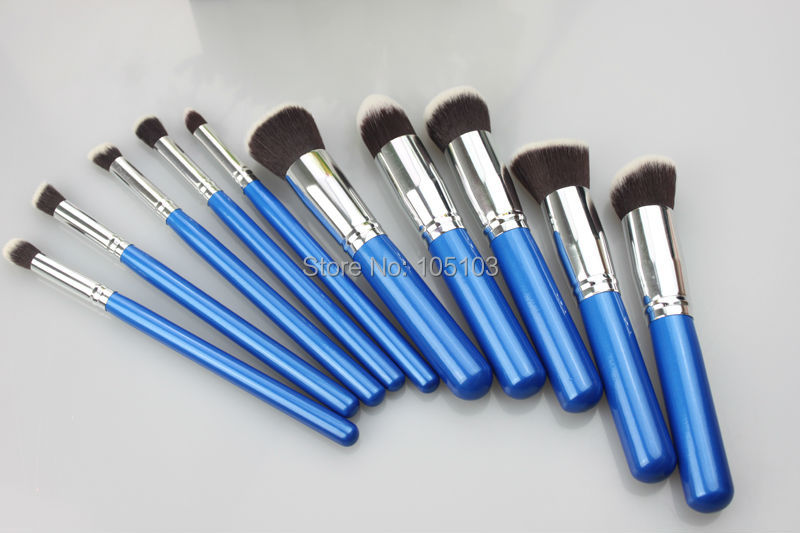 Wholesale price free private label 10pcs Synthetic hair Blush Powder Foundation blending flat angled round makeup Brush set BG