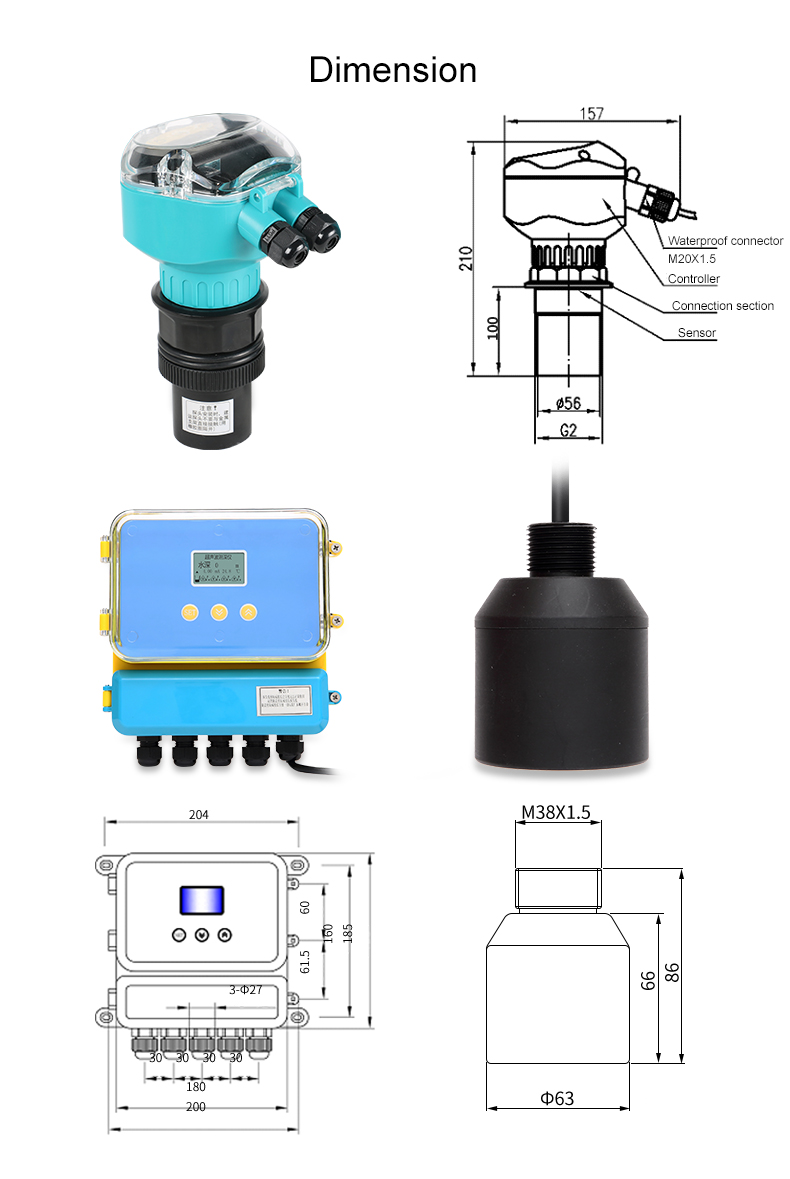Modbus ultrasonic flow meter flange solids level sensor