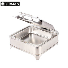 Hot pot restaurant equipment chafing dish electric heater oval india pyrex food warmer with glass dish