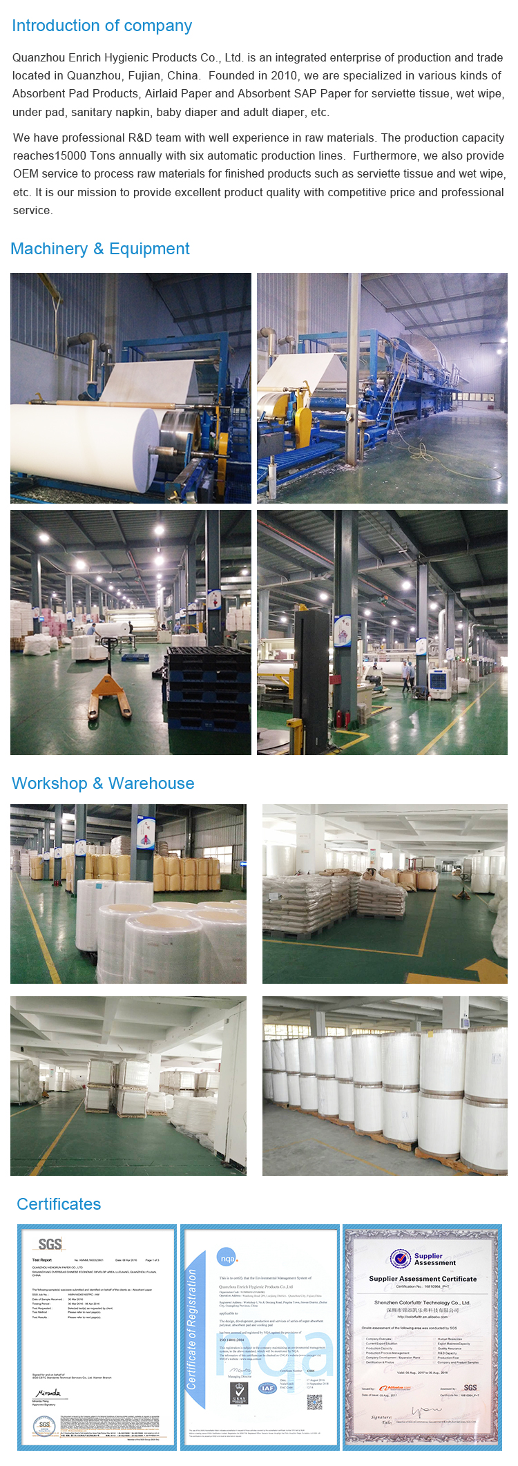 Factory of SAP super airlaid aborbent paper  for baby diaper