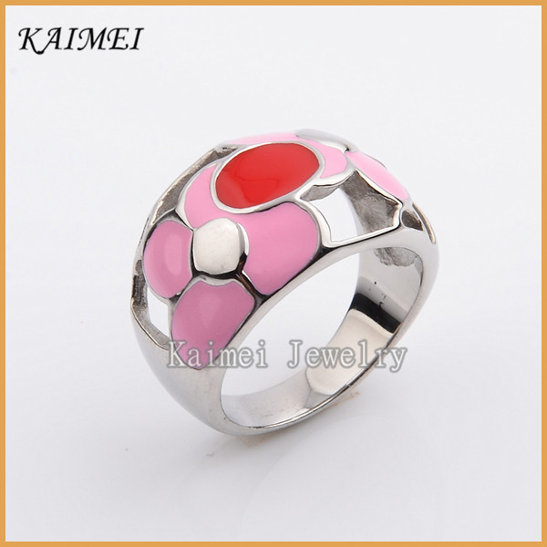New Design Most Popular Exquisite Jewelry Colorful Enamel Silver Hollow Ring For Girls