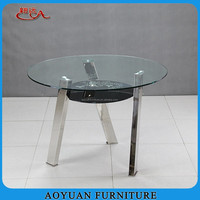 C175 round glass 3 legs stainless steel dining table