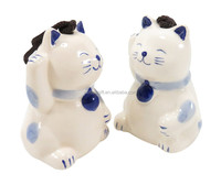 Personalized Handmade Color Glazed Ceramic Lucky Cat Wind Chime,Set of 2