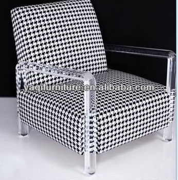 comfortable acrylic sofa with black and white check pattern