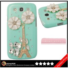 Keno New 3D Handmade Bling White Flower Gold Eiffel Tower Crystal Diamond Case for Samsung Galaxy S3 i9300