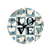 Customized large LOVE words simple design table metal wall clock for home decoration