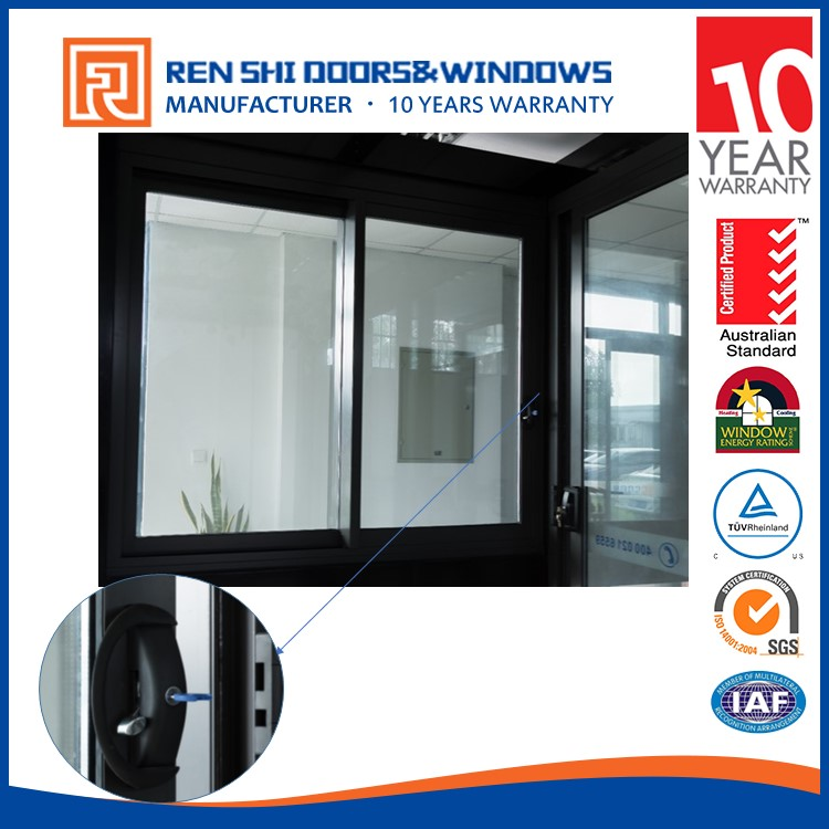 Aluminum horizontal double glass brown color sliding window with Australian standard 2047