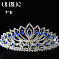 Wholesale Blue Rhinestone Flower Queen Crown And Tiara