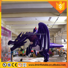 4m Long Giant Advertising Inflatable Black Dragon / High Quality Popular 0.4mm PVC Inflatable Flying Dragon Cartoon Characters