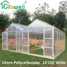 Large Aluminium 10mm Polycarbonate Twin Greenhouse
