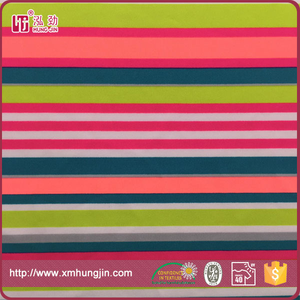 weft knit polyester spandex printed wholesale swimwear fabric with spandex