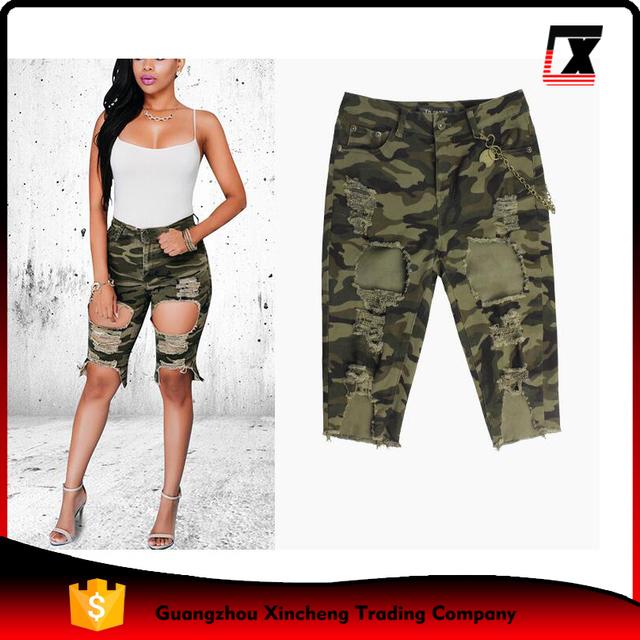 wholesale Women fashion camouflage ripped denim womens short jeans