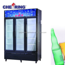 china factory OEM supemarket equipment 3 door refrigerated used glass display case for drinks