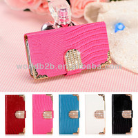 Magnetic Diamond Wallet flip leather Case Cover for iPhone 5s,5