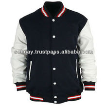 Varsity Jacket made of Wool Body Leather Sleeves Customized Logo