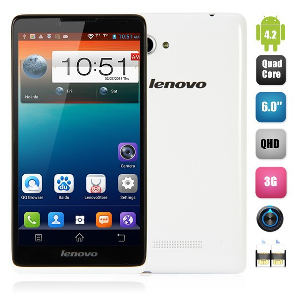 lenovo a889 2g/3g/wifi/gprs android 4.2 6.0 inch big phone electronics mini working model