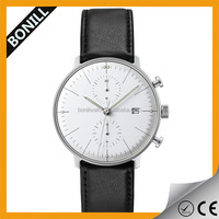 2015 Men Timepiece Leather Stainless Stainless Steel Chronograph Watch 5atm
