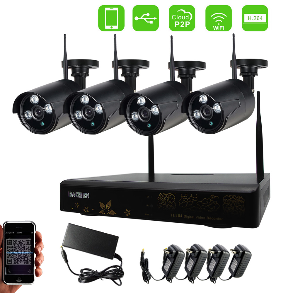 4ch NVR KIT 720P 1.0mp Wireless wifi IP Camera P2P CCTV Security Surveillance system cctv security recording system kit