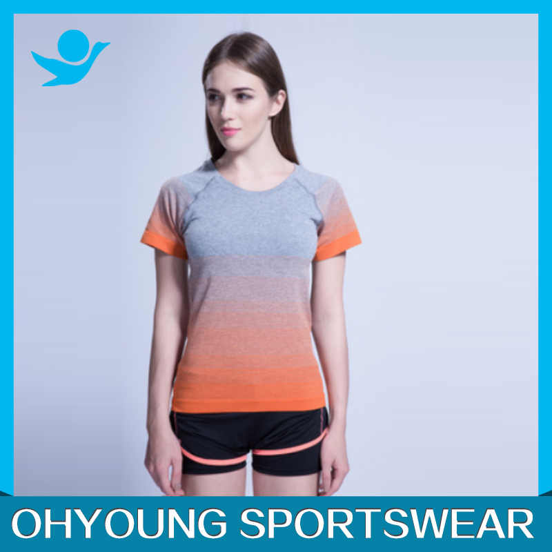 New Fashion Gradient Color Sports Short T-shirt,Women Casual Quick Dry Fitness Gym Running O-Neck Short Sleeve Tees Tops