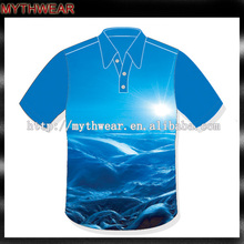 New style sublimation printing 100% polyester dry fit polo men's golf sports polo shirt
