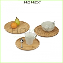 Solid Bamboo Serving Tray/ food tray for fruit& nut &dessert/Serving plate round set of 3/Homex