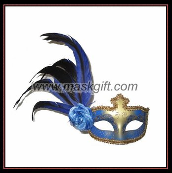 Beautiful Blue & Gold Venetian Feather Mask