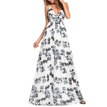 2018 New Fashion Deep V-neck Cross Strap Back Empire Waist Floral Floor Length Long Maxi Dresses