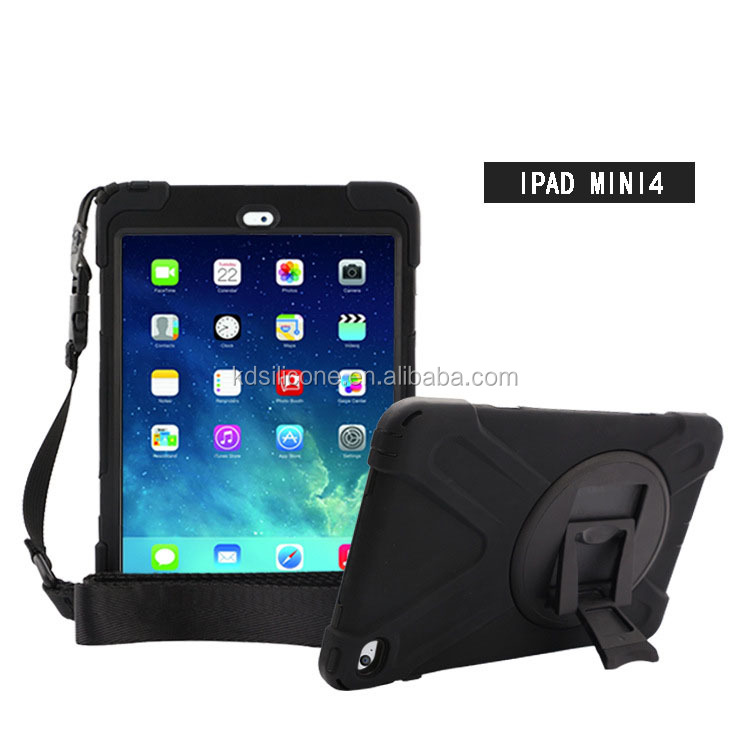 For Ipad Mini 4 Case Full body protective silicone case+PC kickstand 360 rotating+PVC glass screen protecter Dual Layer Hybrid