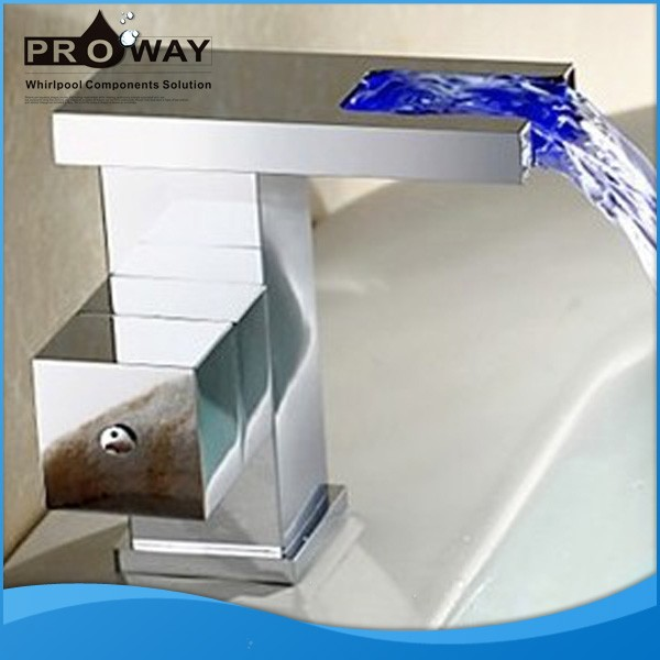 PROWAY LED Faucet Spout Colorful Bathroom Basin Sink Waterfall Taps LED Basin Waterfall