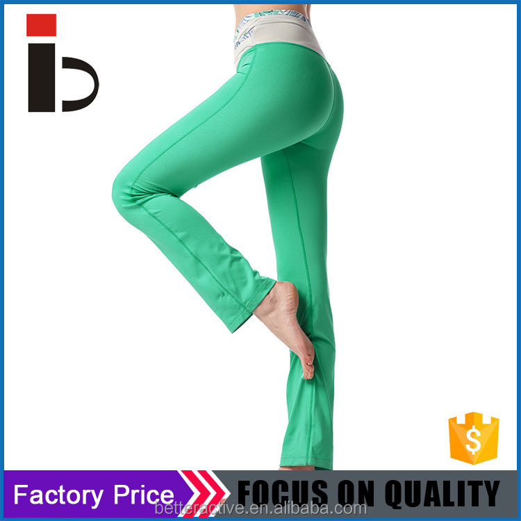Hot design yoga open leg V shape waist band pants