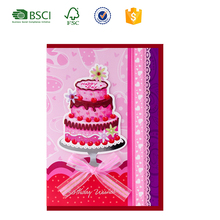 ODM/OEM happy birthday card with best wishes 3D handmade birthday cake ribbon bow tie design