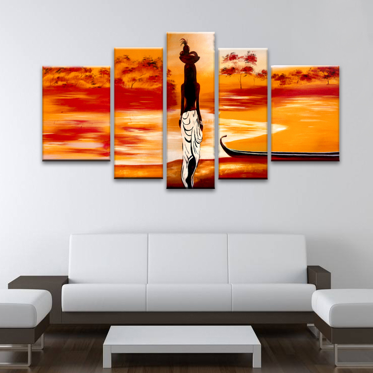 Handmade Modern African 5 Panel Canvas Art Group Oil Painting