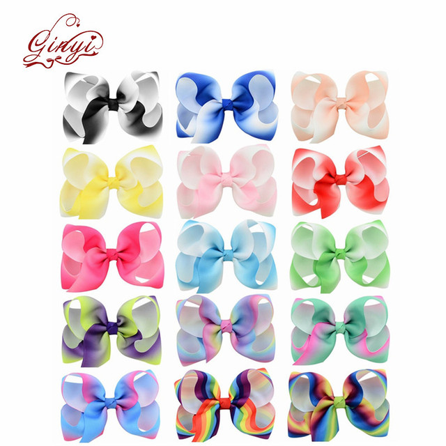 15 Piece 4.5 Inches Grosgrain Girls Hair Bows With Alligator Clips,Boutique Big Rainbow Bows For Teens Kids Toddlers