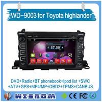 HOT for toyota highlander car dvd gps navigation system,car headrest dvd player with ipod wifi bluetooth car dvd with gps player