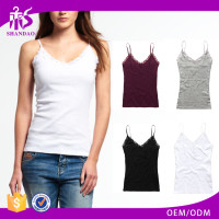 2016 Guangzhou Shandao Brand Name Bulk Wholesale Summer Sexy Spaghetti Strap White Slim Cotton Ladies Knitted Top