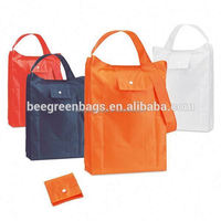 Cheap Promotional Polyester reusable folding shopping bag into pouch