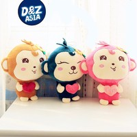 car accessories color monkey plush toy with love heart and Sucker wedding wholesale car decoration