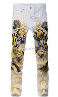 Digital printing yellow tiger head printing jeans, jeans Nightclubs