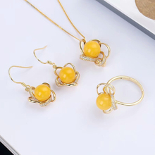 wholesale new design trendy yellow gold plated 925 sterling silver natural yellow amber gemstone women jewelry set