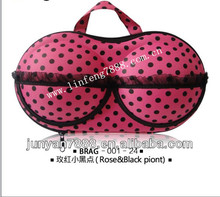 Rose lace& Black dots Travel EVA bra Bag with hang