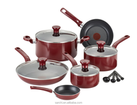 Non-stick aluminum cookware set with red color