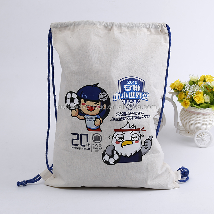 Wholesale high quality 6OZ natural color heat transfer printed drawstring cotton shopping bag for kids